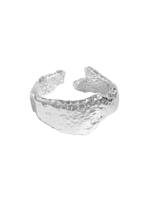 Silver [size 13 adjustable] 925 Sterling Silver Irregular Vintage Band Ring